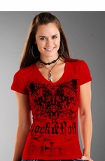 Rock & Roll Cowgirl Women's Short Sleeve Burnout Tee Shirt With Scroll  And Wing Screenprint - Red (Closeout)