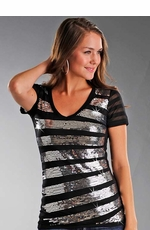 Rock & Roll Cowgirl Women's Short Sleeve Burnout Tee Shirt With Sequin Stripes - Black (Closeout)