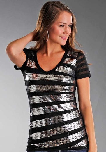 Rock & Roll Cowgirl Women's Short Sleeve Burnout Tee Shirt With Sequin Stripes - Black