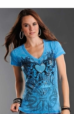 Rock & Roll Cowgirl Women's Short Sleeve Burnout Tee Shirt with Winged Heart - Bright Turquoise (Closeout)
