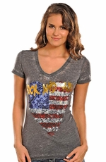 Rock & Roll Cowgirl Women's Short Sleeve Flag Logo Top - Grey (Closeout)