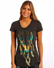 Rock & Roll Cowgirl Women's Short Sleeve Foil Feather Print Top - Black