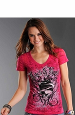 Rock & Roll Cowgirl Women's Short Sleeve Heart and Thorns Burnout Tee Shirt - Hot Pink (Closeout)