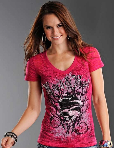 Rock & Roll Cowgirl Women's Short Sleeve Heart and Thorns Burnout Tee Shirt - Hot Pink