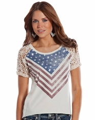 Rock & Roll Cowgirl Women's Short Sleeve Lacy Flag Top - Natural (Closeout)