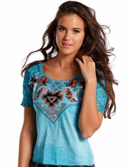 Rock & Roll Cowgirl Women's Short Sleeve Sequin Top - Turquoise