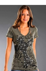 Rock & Roll Cowgirl Women's Short Sleeve Tee Shirt with Cross and Roses - Olive Drab