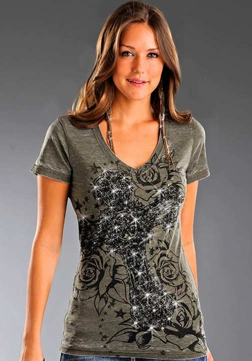 Rock & Roll Cowgirl Women's Short Sleeve Tee Shirt with Cross and Roses - Olive Drab (Closeout)