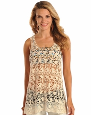 Rock & Roll Cowgirl Women's Sleeveless Crochet Top - Natural