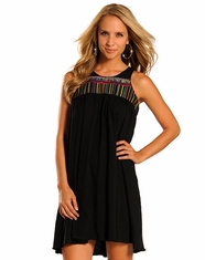 Rock & Roll Cowgirl Women's Sleeveless Embroidered Dress - Black