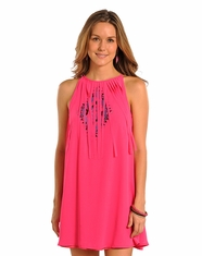 Rock & Roll Cowgirl Women's Sleeveless Embroidered Fringe Dress - Hot Pink