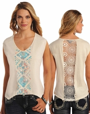 Rock & Roll Cowgirl Women's Short Sleeve Embroidered Lace Back Top - Natural (Closeout)