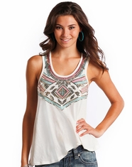 Rock & Roll Cowgirl Women's Sleeveless Embroidered Sequin Top - White