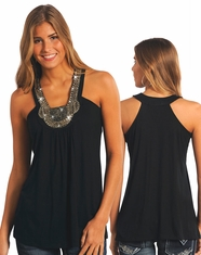 Rock & Roll Cowgirl Women's Sleeveless Embroidered Top - Black