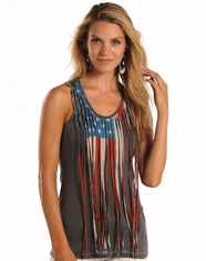 Rock & Roll Cowgirl Women's Sleeveless Fringe Print Top - Grey