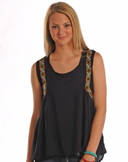 Rock & Roll Cowgirl Women's Sleeveless Hi-Lo Tank Top - Black (Closeout)