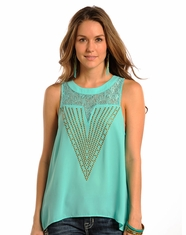 Rock & Roll Cowgirl Women's Sleeveless Lace Top - Mint (Closeout)