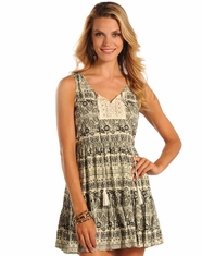 Rock & Roll Cowgirl Women's Sleeveless Short Print Dress - Natural