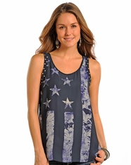 Rock & Roll Cowgirl Women's Sleeveless Stars & Stripes Top - Indigo