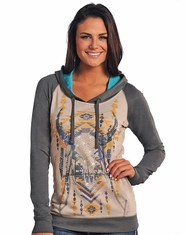 Rock & Roll Cowgirl Women's Steer head Print Hoodie- Grey