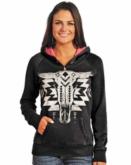 Rock & Roll Cowgirl Women's Steerhead Pullover Hooded Sweatshirt - Black