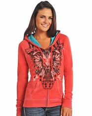 Rock & Roll Cowgirl Women's Steerhead Zip Hoodie - Rose