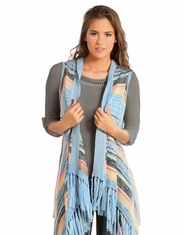 Rock & Roll Cowgirl Women's Striped Fringe Vest - Blue (Closeout)