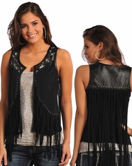 Rock & Roll Cowgirl Women's Studded Fringe Vest - Black