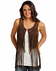 Rock & Roll Cowgirl Women's Studded Fringe Vest - Chocolate