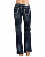 Rock & Roll Cowgirl Women's Trouser Fit Low Rise Bootcut Jean-Dark Vintage
