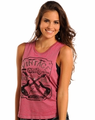 Rock & Roll Cowgirl Women's Vintage Rock Muscle Tank Top - Pink (Closeout)