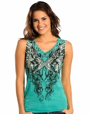 Rock & Roll Cowgirl Women's Winged Gun Tank Top - Bright Seafoam