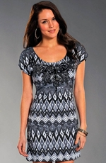 Rock & Roll Cowgirl Womens All Over Print Dress - Grey (Closeout)