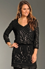 Rock & Roll Cowgirl Womens All Over Sequin Dress - Black (Closeout)