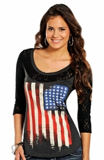 Rock & Roll Cowgirl Womens American Flag 3/4 Sleeve Tee Shirt - Black