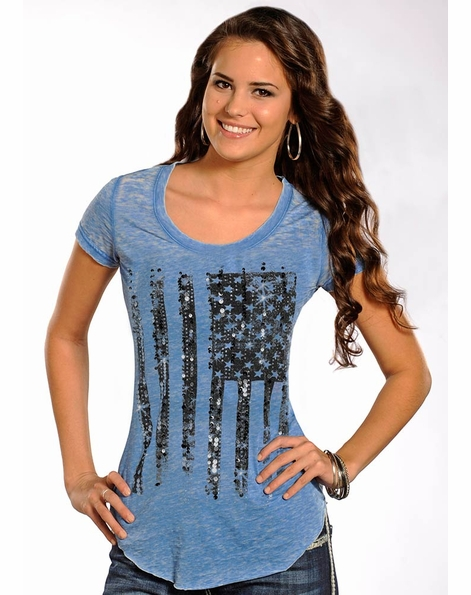 Rock & Roll Cowgirl Womens American Flag Short Sleeve Knit Top - Burnout Blue (Closeout)