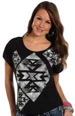 Rock & Roll Cowgirl Womens Aztec Dolman Top - Black