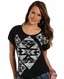 Rock & Roll Cowgirl Womens Aztec Dolman Top - Black (Closeout)