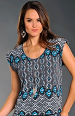 Rock & Roll Cowgirl Womens Aztec Stripe Top - Charcoal