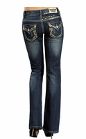 Rock & Roll Cowgirl Womens Boot Cut Gold Sequin Jeans - Dark Vintage Wash