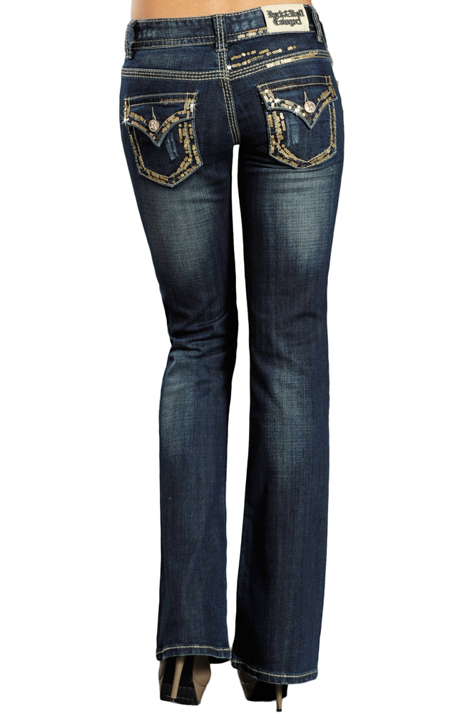 Rock & Roll Cowgirl Womens Boot Cut Gold Sequin Jeans - Dark Vintage Wash (Closeout)
