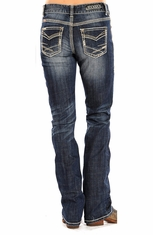 Rock & Roll Cowgirl Womens Boyfriend Fit Boot Cut Jeans - Dark Vintage Wash (Closeout)