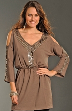 Rock & Roll Cowgirl Womens Cold Shoulder Georgette Dress - Taupe (Closeout)