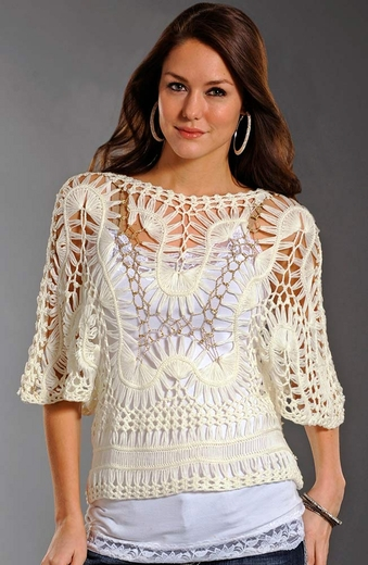 Rock & Roll Cowgirl Womens Crochet Top - Cream (Closeout)