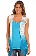 Rock & Roll Cowgirl Womens Crochet Dip Dye Vest - White (Closeout)