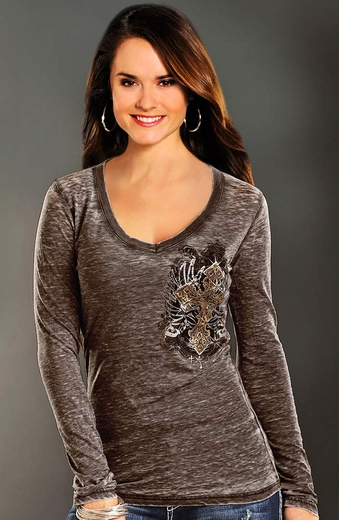 Rock & Roll Cowgirl Womens Cross and Shield Top - Brown