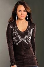 Rock & Roll Cowgirl Womens Crossed Guns and Wings Top - Black