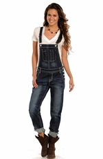 Rock & Roll Cowgirl Women's Denim Overalls - Dark Vintage Wash