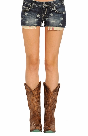 Rock & Roll Cowgirl Low Rise American Flag Denim Shorts - Dark Vintage