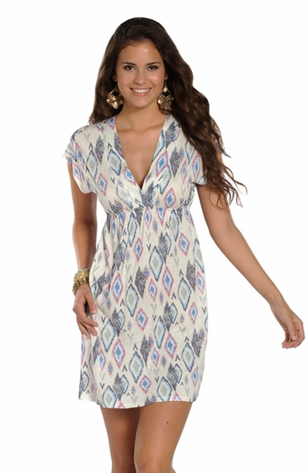Rock & Roll Cowgirl Womens Short Sleeve Dolman Print Dress - Eggshell (Closeout)